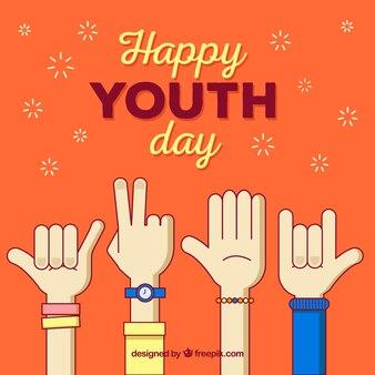 Jugendtaghintergrund mit den Händen