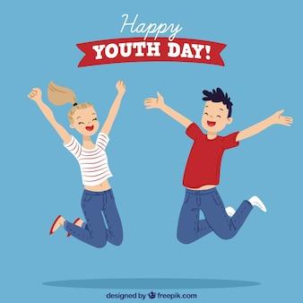 Jugendtaghintergrund mit den springenden kindern