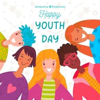 Jugendtaghintergrund mit glücklichen menschen