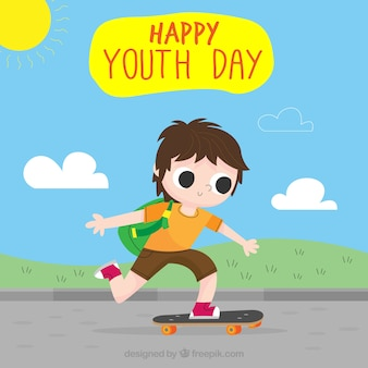 Jugendtaghintergrund mit schlittschuhläufer