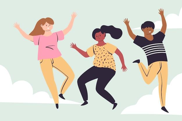 Jugendtagsillustration mit springenden menschen