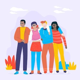 Jugendtagsmenschen, die zusammen in flachem design umarmen