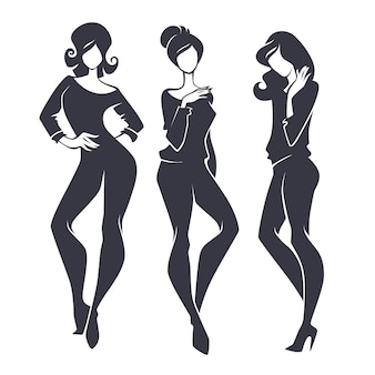 Jung, schönheit, mode und modische mädchen, silhouetten festgelegt