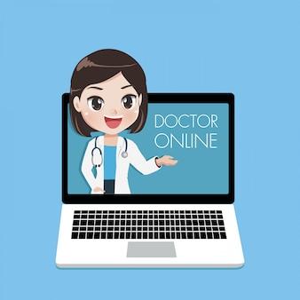 Junge ärztin beraten patienten über online-kanäle oder soziale medien mit einer jungen frau, die vom laptopbildschirm auftaucht.
