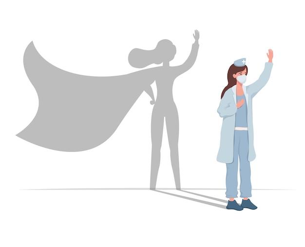 Junge ärztin in uniform mit superheldenschattenvektor flach