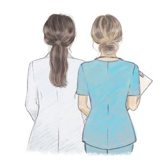 Junge ärztin und krankenschwester. hand gezeichnete illustration im wachsmalstiftstil.