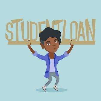 Junge afrikanische frau, die zeichen des studentendarlehens hält.