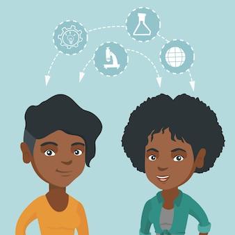 Junge afrikanische studenten, die mit den ideen teilen.