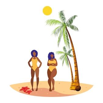 Junge afro-mädchen paar am strand sommer szene