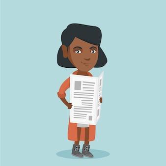 Junge afroamerikanerfrau, die eine zeitung liest.