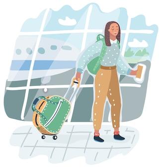 Junge afroamerikanische frau im flughafen. reisender mit gepäck auf flugzeughintergrund. illustration des urlaubs. ankunft im terminal. erwachsener tourist im hut mit tasche, die zum flugzeug geht.