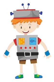 Junge als roboter verkleidet
