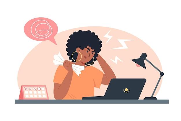 Junge arbeitnehmerin, die stress bei der arbeit erlebt, problem bei der lösung von aufgaben
