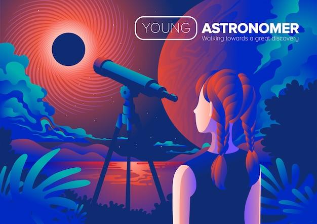 Junge astronom-kunst