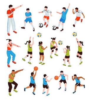 Junge athleten isometrische set
