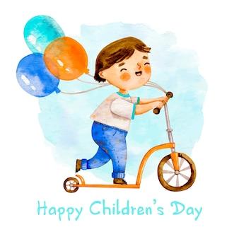Junge auf einem roller mit ballonen