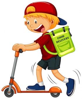 Junge auf kick scooter lieferung essen