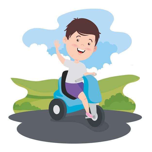 Junge auf motorrad bei landschaft