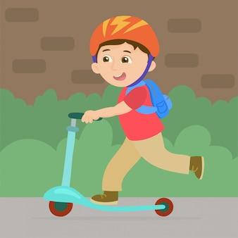 Junge auf skateboard zur schule