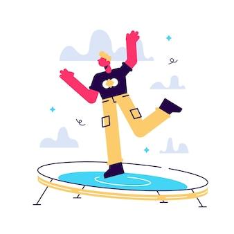 Junge aufgeregte männliche figur, die auf ein trampolin springt und positive gefühle ausdrückt, die spaß gute stimmung haben