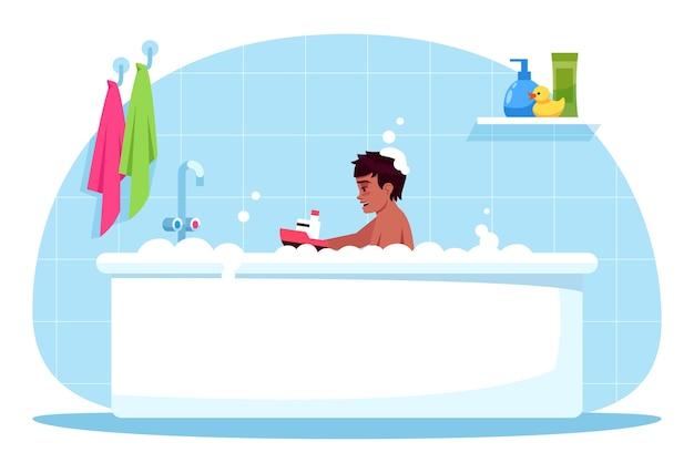 Junge badezeit halb rgb farbillustration. babyspiel mit plastikspielzeug. schaumbad für kind. badezimmerzeit. männliches kleinkind in der badewannenkarikaturfigur auf blauem hintergrund
