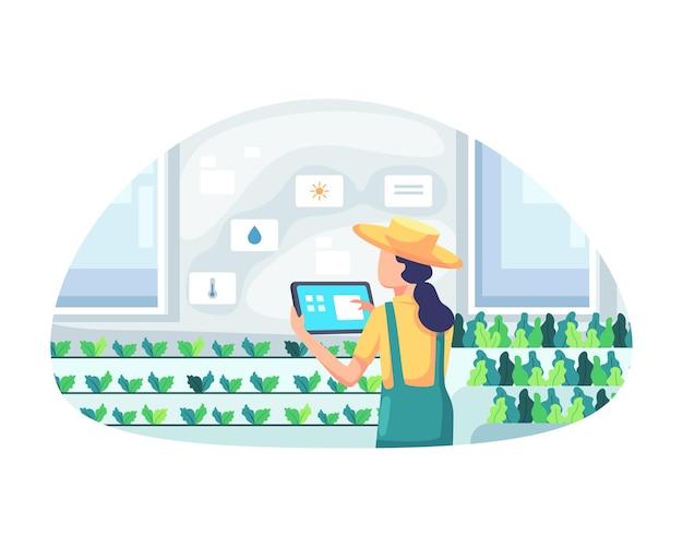 Junge bäuerin, die tablette kontrolliert gemüse hält. intelligentes und ausgeklügeltes landwirtschaftskonzept, verwaltung einer farm in einem gewächshaus. moderne landwirtschaft mit automatisierung. vektorillustration in einem flachen stil
