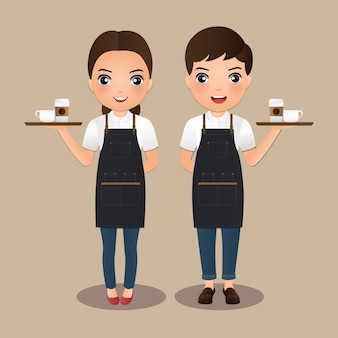 Junge barista frauen und mann in der schürze lächelnd kaffeetasse halten. nette zeichentrickfigur.