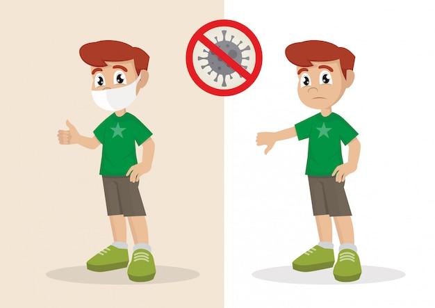 Junge bedeckt gesicht mit medizinischer maske und zeigt daumen hoch und junge nicht gesicht mit medizinischen daumen zeigt. stoppen sie coronavirus.