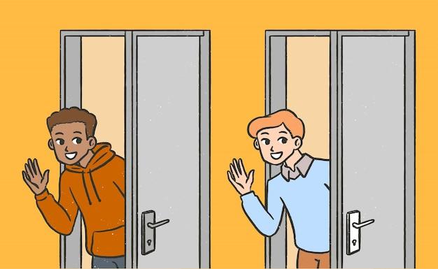Junge begrüßt in von tür cartoon hand gezeichnet