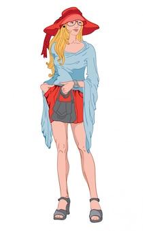 Junge blonde frau mit ernstem gesichtsausdruck. bing roter hut und kurzes kleid, blaue bluse, graue schuhe, uhr und handtasche