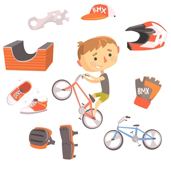 Junge bmx fahrradfahrer, kinder future dream professional beruf illustration mit bezug zu beruf objekte
