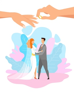 Junge braut und bräutigam, die flache charaktere umarmt