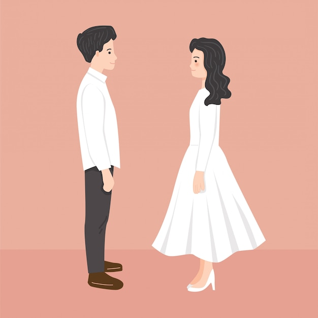 Junge braut und bräutigam, die illustration sich anstarren