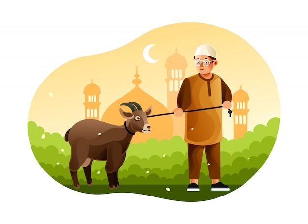 Junge bringt schafe zur moschee, als eid al-adha