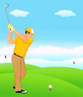 Junge cartoon golfspieler