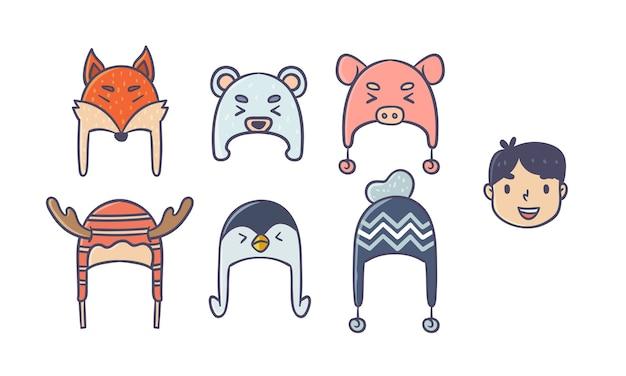 Junge charakter mit verschiedenen wintermütze