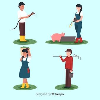 Junge charaktere des flachen designs, die auf den landwirtschaftlichen gebieten arbeiten