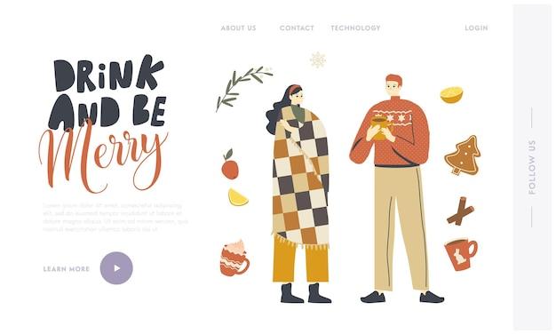 Junge charaktere in warmer kleidung genießen winter drinks.landing page template. menschen trinken heiße getränke im winter, weihnachtsferien zu hause freizeit. lineare vektorillustration