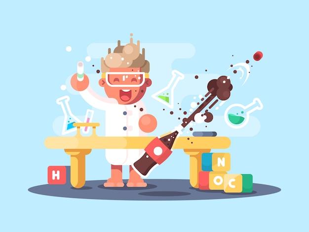 Junge chemikerfiguren Premium Vektoren