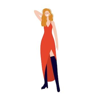 Junge dame, die ein rotes schlitzkleid auf einer flachen vektorillustration der herrlichen frau des weißen hintergrundes trägt