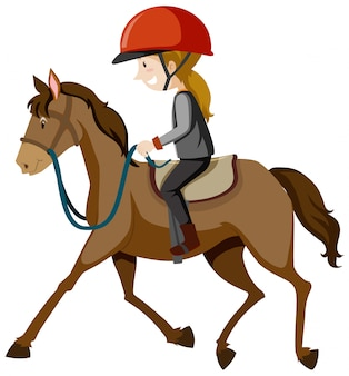 Junge dame, die helm oder reiter trägt, der einen pferdekarikatur lokalisiert reitet