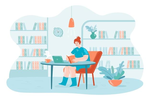 Junge dame liest ein buch in der bibliothek bildungsuniversitätskonzept