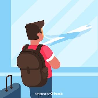 Junge, der alleine flaches design reist