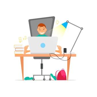Junge, der an laptop-computer konzept für bildung arbeitet