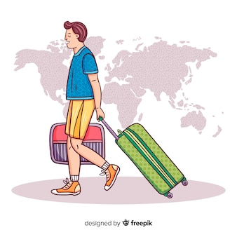 Junge, der auf einen reisehintergrund geht