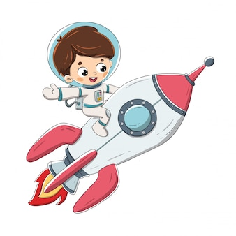 Junge, der auf einer rakete fliegt durch weltraum sitzt