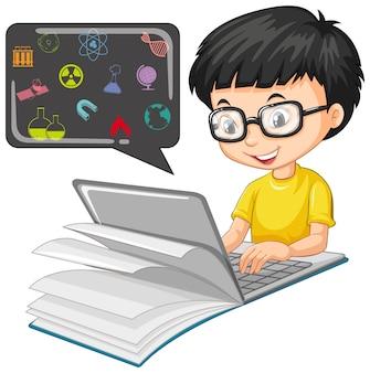 Junge, der auf laptop mit bildungsikonen-karikaturstil lokalisiert auf weiß sucht