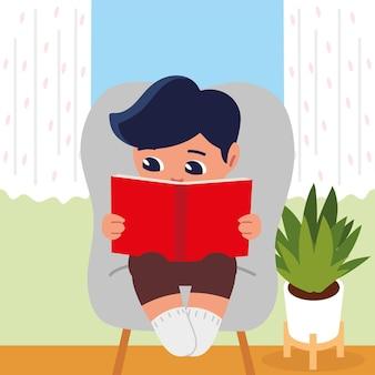 Junge, der auf stuhl liest, der zu hause studiert