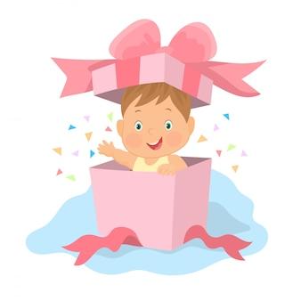 Junge, der aus der geschenkbox-überraschung herauskommt