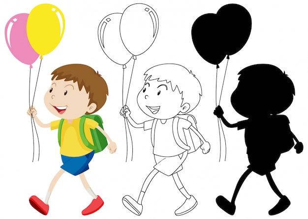 Junge, der ballon mit seinem umriss und der silhouette hält